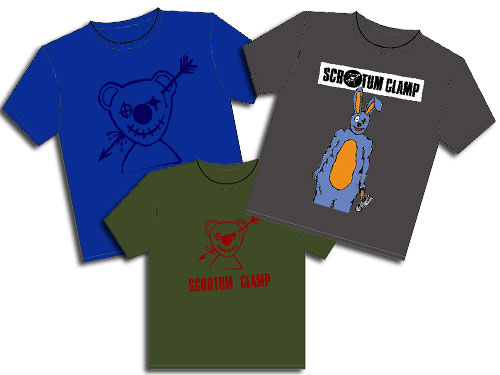 Scrotum Clamp t-shirts